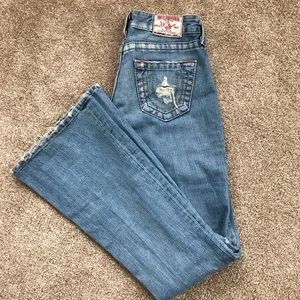 True Religion Light Destroyed Denim Boot Cut Jeans